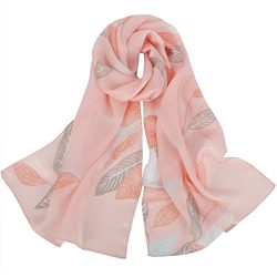 IRRANI Women's Long Thin Silk Scarf Fashion Lightweight Neckerchief (Pink)