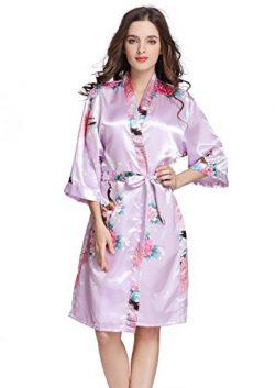 J.ROBE Women's Printing Lotus Kimono Robe Short Sleeve Silk Bridal Robe Soft Purple M