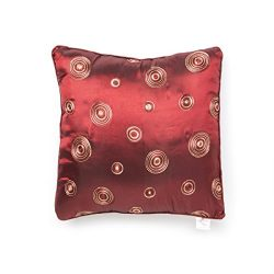 Violet Linen Silky Circle Cushion Cover, 17″ x 17″, Burgundy