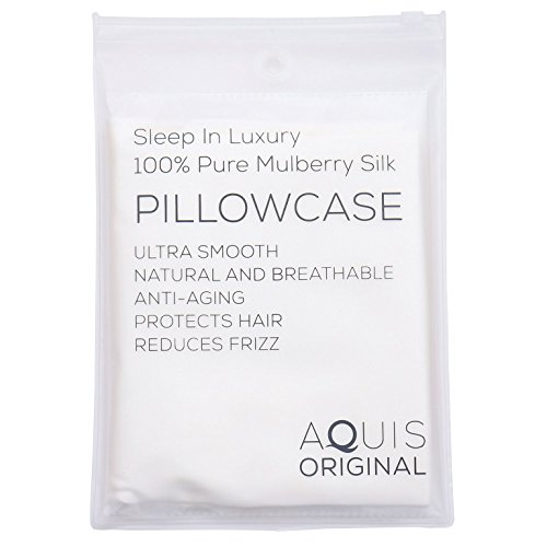 AQUIS Original – 100% Pure Mulberry Silk Pillowcase, Lustrous Comfort & Gentle Hydrati ...