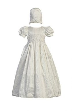 White Silk Christening Baptism Gown with Laced Bodice and Matching Hat – M (6-12 Month)