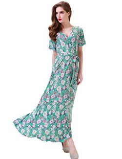 Aphratti Women's Bohemian Short Sleeve V Neck Long Beach Wrap Maxi Dress X-Large Ligth Gre ...