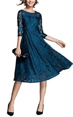 RIZ-ZOAWD 2018 Women's Vintage Sexy Lace Dress Slim Round Neck 3/4 Sleeve Dress Prom Weddi ...