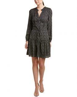 Rebecca Taylor Womens Dragonfly Silk Shift Dress, 4, Black