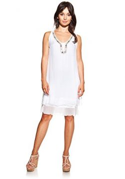 Laura Moretti – Silk dress colour white with coverings U-neck, embroidered and glowing