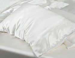 MYK 100% Pure Natural Mulberry Silk Pillowcase, 25 Momme with Cotton underside for Hair and Skin ...