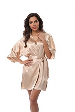 Vogue Bridal Women's Solid Color Short Kimono Robe, Champers 2XL