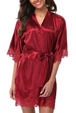 Giova Women's Lace Trim Kimono Robe Nightwear Nightgown Sleepwear Satin Short Robe Red Large