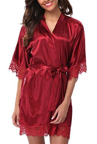Giova Women's Lace Trim Kimono Robe Nightwear Nightgown Sleepwear Satin Short Robe Red Large