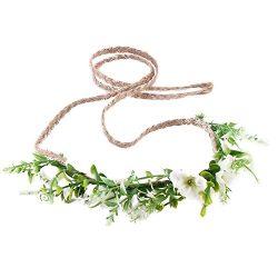 Tieback Flower Crown Flower Headband Baby Girl Toddler Woodland Green Leaf Floral Crown Wreath ( ...