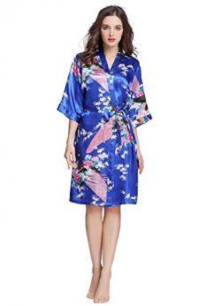J.ROBE Women's Printing Lotus Kimono Robe Short Sleeve Silk Bridal Robe Royal Blue L