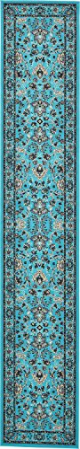 Unique Loom Kashan Collection Traditional Floral Turquoise Home Décor Runner Rug (3′ x 16& ...