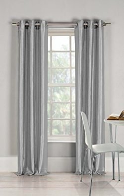 DUCK RIVER TEXTILES – Bali Faux Silk Grommet Top Window Curtain 2 Panel Drape, 38 X 96 Inc ...