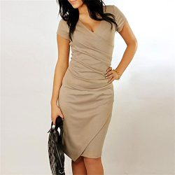 Iumer Asymmetric Candy Color Sexy V-neck Office Dress Elegant Women Summer Silk Casual Pencil Dr ...