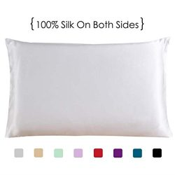Queen Size Silk Pillowcase, White Both Sides 100% Mulberry Silk Pillow Case for Hair and Skin, C ...