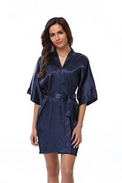 Vogue Bridal Women's Solid Color Short Kimono Robe, Navyblue L