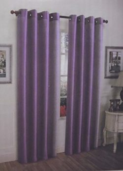 Lilac Purple 2 Pcs Solid Grommet Faux Silk Window Curtain Drapes Panel Treatment 63″