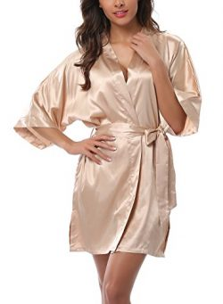 ABC-STAR Women Short Satin Kimono Robes for Wedding Bridal Party Bridesmaid Gift, Champagne, M