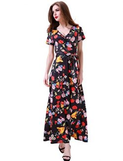 Melynnco Women's Vintage Floral Faux Wrap V Neck Short Sleeve Maxi Dress Medium Black
