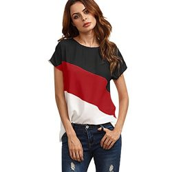 Goddessvan Women's Color Block Blouse Short Sleeve Casual Tee Shirts Tops (XL, Red)