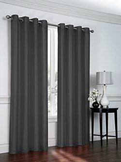Regal Home Collections 2 Pack Semi Sheer Faux Silk Grommet Curtains – Assorted Colors (Cha ...