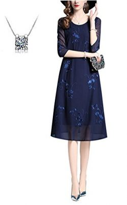 RIZ-ZOAWD Women's Round Neck 3/4 Sleeve Printed Silk Chiffon Loose Dress-Fashion Spring Su ...