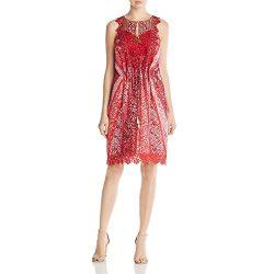 Elie Tahari Womens McKenna Metallic Silk Casual Dress Red 4