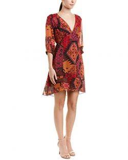 Nanette Lepore Womens Painted Desert Silk Shift Dress, 4, Red