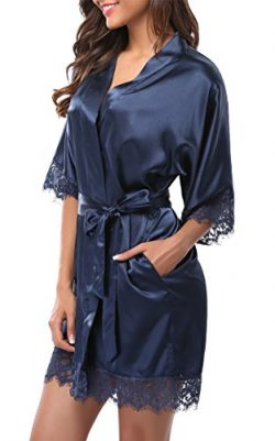 Giova Women's Lace Trim Kimono Robe Nightwear Nightgown Sleepwear Satin Short Robe Navy Blue S