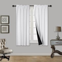 Elegant Home 2 Panels Tiers Small Window Treatment Curtain Faux Silk Insulated 100% Blackout Dra ...