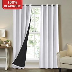 Turquoize White 100% Blackout Lined Curtains 96 Inches Long, Double Layers Completely Blackout W ...