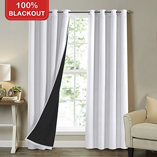Turquoize White 100% Blackout Lined Curtains 96 Inches