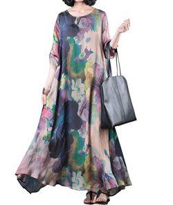 YESNO JDC Loose Colorful Floral Swing Dress Roll-up Sleeve Summer Beach Side Pocket/Slip