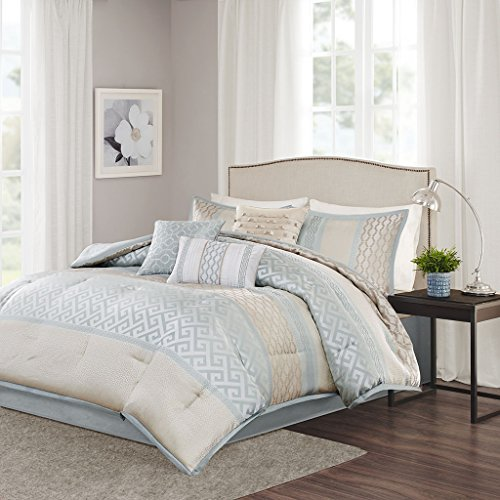 Madison Park Bennett King Size Bed Comforter Set Bed In A Bag – Pale Aqua, Taupe, Jacquard ...