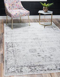 Unique Loom Sofia Collection Traditional Vintage Gray Home Décor Area Rug (5′ x 8′)