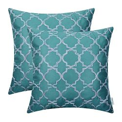 Pack of 2 CaliTime Faux Silk Throw Pillow Covers Cases for Home Sofa Couch 18 X 18 Inches, Gradi ...