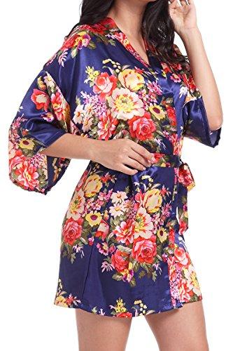 DF-deals Women's Satin Floral Robes for Bride and Bridesmaid Wedding Party Kimono Silk Rob ...