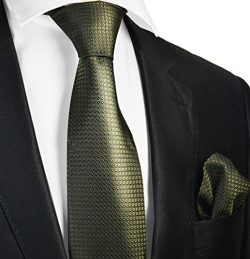 Extra Long Olive Green Silk Men's Tie and Pocket Square by Paul Malone