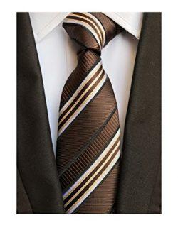 Secdtie Men's Classic Stripe Jacquard Woven Silk Tie Formal Party Suit Necktie (One Size,  ...