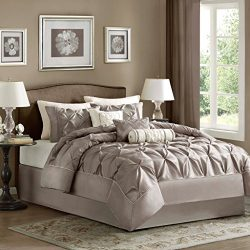 Madison Park Laurel Queen Size Bed Comforter Set Bed In A Bag – Taupe, Wrinkle Tufted Plea ...