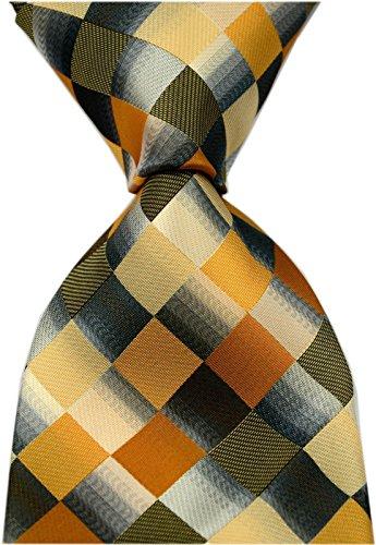 Secdtie Men's Classic Checks Purple Grey Jacquard Woven Silk Tie Necktie Yellow Grey
