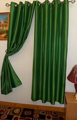 Hunter Green Grommet Style In 108″ Lenth 1 Pc Solid Grommet Faux Silk Window Curtain Drape ...
