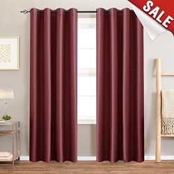 jinchan Faux Silk Satin Blackout Curtains for Bedroom, Living Room Thermal Insulated Luxury Dupi ...