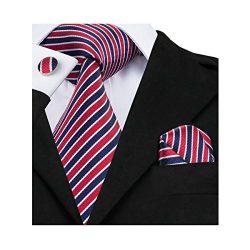 Barry.Wang Ties Blue and Red Woven Silk Hanky Cufflinks Tie Set