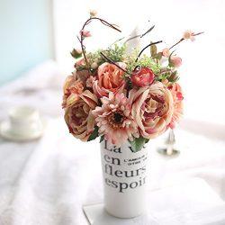 Tonsure Silk Flowers, Artificial Fake Flowers Artificial Gerbera Rose Bridal Wedding Bouquet for ...