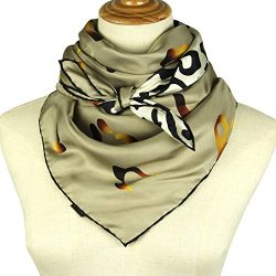 Silk Scarf Square Scarf for Hair – Pantonight 14MM Twill Leopard Silk Scarf for Women (bei ...
