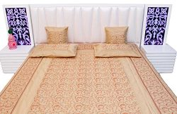 Creami Kashmiri Embroidery Design Silk Double Bed Cover Cushion Set 411