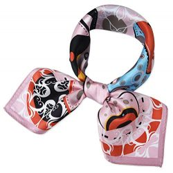 corciova Women 100% Mulberry Silk Neck Scarf Small Square Scarves Neckerchiefs Piggy Pink Bags D ...