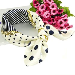 100% Silk Scarf Square Dots12 momme -Pantonight Luxurious Satin Silk Scarfs for Women Square Sca ...
