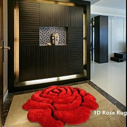 Ustide Rose Rug Super Soft Red Mat Solid Color Area Rug Flower Shaped Shaggy Rug 3D Affect Floor ...